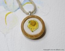 Flag Iris embroidered pendant