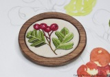 embroidered hawthorn brooch