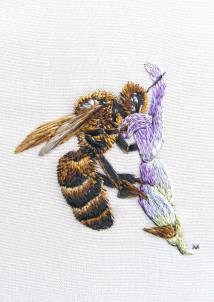 Bee on Lavender embroidery