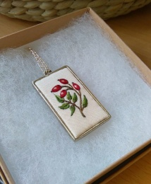 Hand embroidery rosehip